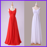 Free Shipping Real Charming Red White Long Bridesmaid Dress Chiffon Full Length 3466