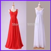 Free Shipping Real Charming Red White Long Bridesmaid Dress Chiffon Full Length 3466