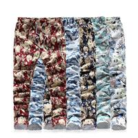 Multicolour thin casual trousers male plus size plus size flowers the trend of the trousers straight slim print skinny pants