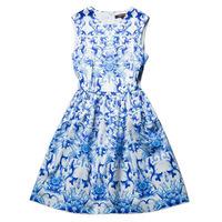 Hot Sale 2014 Bingbing Fan In Ellie Saab Fashion Dresses Vintage Printed Round Collar Giant Swing Sleeveless Celebrity Dresses