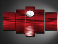 Hand-painted Back Oil Wall Art Red Sea  Full Moon Night Home Decoration Abstract Landscape Oil Painting on Canvas 5pcs/set