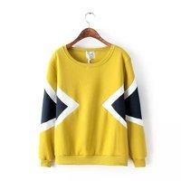 Women's 2014 Fashion All-match Rhombus Geometry Color Block Decoration Pullover Sweatshirt Yellow Grey Free Shipping