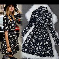 Free Shipping 2014 new autumn and winter women's plus size ruffles knee length long-sleeve fashion star print casual dress XXXL