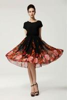 2014 Summer Women Fashion Elegant Bat Short Sleeve Clothes Slim Waist Flower Printed Ultra Long Black Belt Chiffon Prom Dress