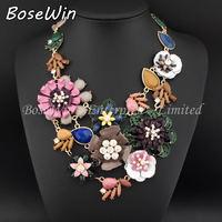 2014 New Accessories Spray Paint Metal Flower Resin Bead Rhinestone Crystal Bib Necklaces & Pendants Statement Jewelry CE2691