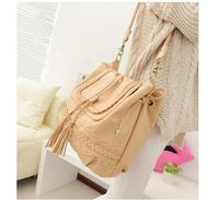 Free Shipping 2015 one shoulder cross-body tassel bucket woven bag vintage fashion brief women's handbag casual bag