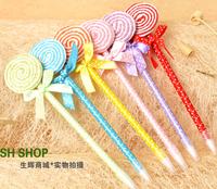 Creative stationery wholesale 36pcs blue ink cute cartoon lollipop shape ballpoint ball pen school children kids prize gift toy