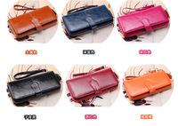 Good quality New  Fashion Women cowhide purse long Genuine Leather wallet  Ladies Hand bag