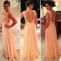 2014 vestidos de festa vestido longo Peach Long Chiffon Formal Evening dress women Gowns Nude Back Lace Prom Dresses Plus size