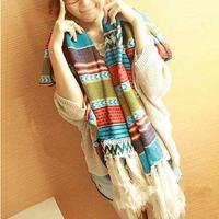 Women New Fashion Retro Bohemian Tassel Printed Cotton Autumn Winter Shawl Scarves Scarf Wraps Hijab Bufandas 1SC893