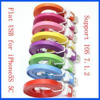 Support IOS 7 / 8 Wholesale 200pcs/lot 1M 3ft Flat Noodle USB Data Sync Cable for iPhone 5 5C 5S 6 Plus
