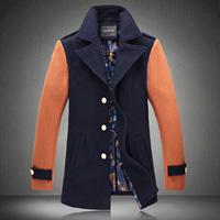2014 New Arrival Quality Winter Warm Plus Size Wool Coats for Men Patchwork Fashion Men's Blazers M-5XL