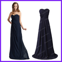 Free Shipping Women Dark Navy Blue Chiffon Elegant Long Evening Dress Formal Prom Gown Rose 3442
