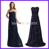 Free Shipping Women Dark Navy Blue Chiffon Elegant Long Evening Dress Formal Prom Gown Rose 3442
