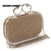 High Grade New Women's Luxurious Diamond Evening Bags2014 Full Rhinestone Heart Knuckle Rings Day Clutches Luxury Handbag