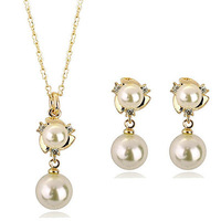 J019 Cheap New Charms Gold/Silver Plated Freshwater Pearl Flower Necklace/Earrings Wedding Accessories Jewelry Sets For Women