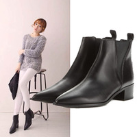 2014 winter women real leather big brand short boots retro pointed toe real leather flat ankle motorcycle boots