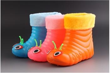 Бесплатная доставка 2014 новый мультфильм гусеница дети Rainboot мальчиков из зимняя обувь ребенка девушки хлопка снегоступы малыша дождь ботинки