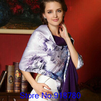 100% mulberry silk pure silk scarf  two side silk scarves 175cm*52cm long  scarf brushed silk scarves wholesale