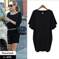 2014 New Brand  Women Plus Size Short Sleeve Black Summer Dress Fashion Dress for Women L-6XL DFD-032