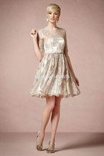 PRD-C45 Champagne 2014 A line Lace Half sleeves mini short elegant cocktail dresses(China (Mainland))