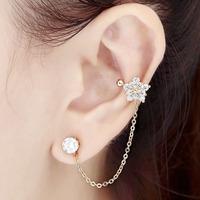 Flower Ear Cuff Wrap Cartilage with Chain Left Ear 1 pcs  Non Pierced Brincos With Austrian Stellux Cubic Zirconia For Women