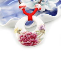 Necklaces & Pendants vintage jewelry items Ceramic hand -painted folk style sweater chain necklace pendant Lotus Pond