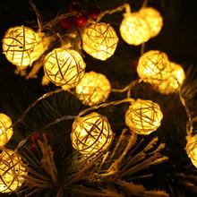 New Year 2015 Christmas Lights Garlands Free Shipping Wedding Christmas Decoration 20pcs Rattan Ball Yellow Light LED String(China (Mainland))