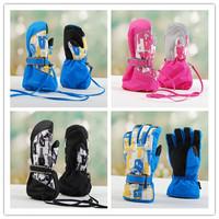 Ultra long winter professional ski waterproof gloves child