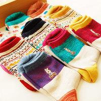 5 double vintage female socks short autumn and winter cotton socks cat series of female socks