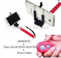 Extendable Handheld Self portrait Monopod selfie stick Photograph Bluetooth Shutter Camera Remote Controller for iPhone Samsung