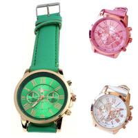 2014 New Women's Fashion Roman Numerals Faux Leather Analog Quartz Wrist Watch Free shipping&Wholesale Alipower