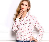 Women blouse new 2014 autumn fashion long sleeve turn-down collar lip print causal chiffon shirt plus size women tops blusa K25