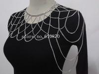 New Women Metal Sides Shoulders Harness Fashion Net  Body Chain Choker Statement Necklace  Jewelry
