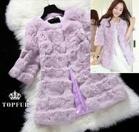 2014 2015 New Arrival Women Fashion Warm Winter Real Natural Rex Rabbit Fur Long Coat EMS EMC  Low Low Discount FP339