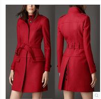 Free Shipping Women European American fashion high-end  temperament Slim long woolen coat ,Red Woolen Outwear S M L XL