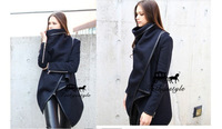 Top Fasion Long Zipper Worsted O-neck Full Pockets Solid 2014 New Style Winter Women Overcoat Fashion Trench Coath S00262