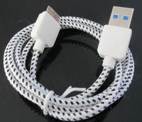 500pcs 2M 6FT Braided Nylon Fabric USB 3.0 Cable Data Sync Transfer Charge Cable for Samsung Galaxy Note 3 N9000 N9005 S5 i9600
