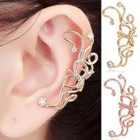 Flower Ear Cuff Wrap Cartilage Left Ear 1 pcs Gold Non Pierced Brincos With Austrian Stellux Cubic Zirconia For Women