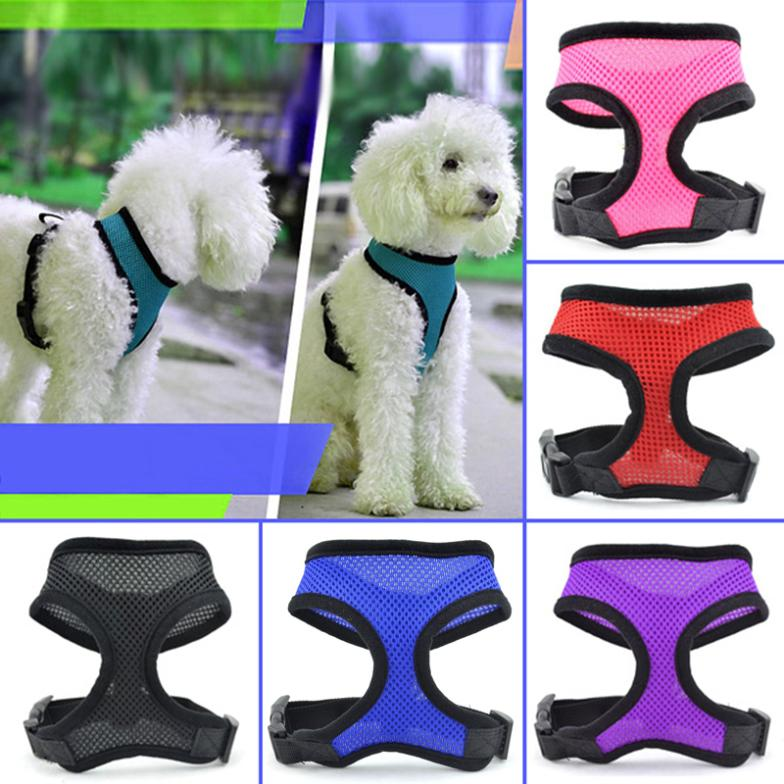 Adjustable Soft Mesh Fabric Puppy Dog Pet Harness Lead Leash with Clip G01065(China (Mainland))