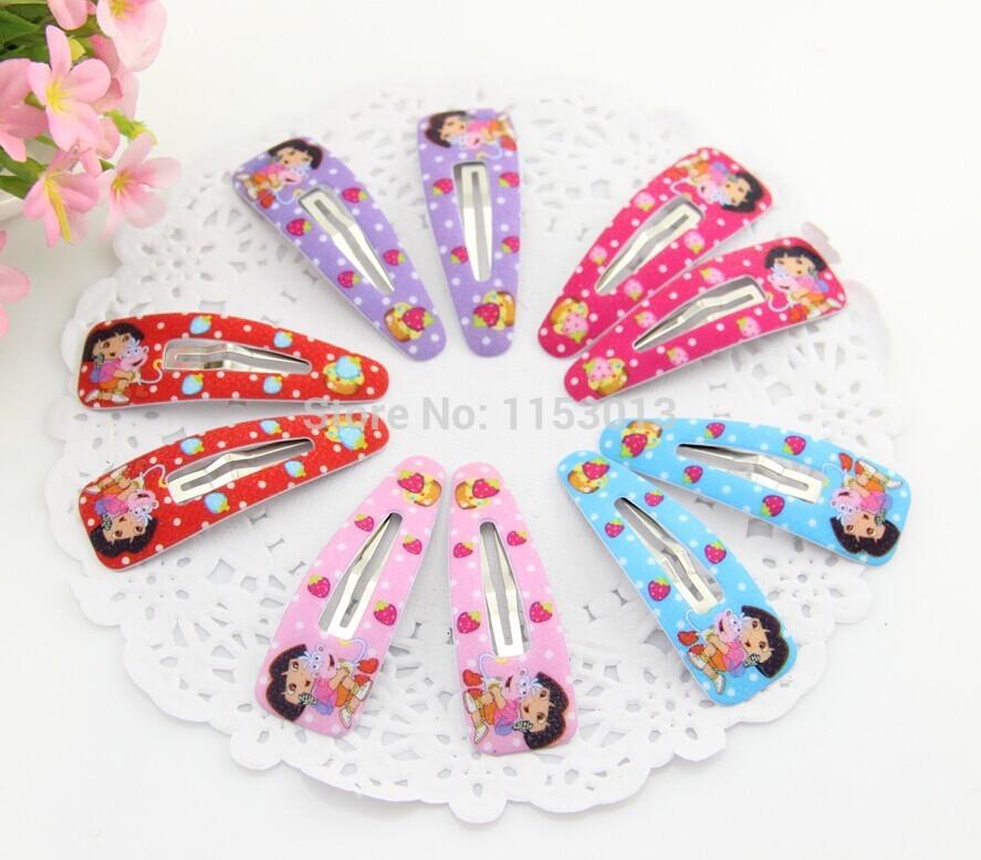 {Min.Order $15}60pcs/Lot 2014 New Kids/Girl/Princess/Baby Cute Dora Printed Fabric Hair Clip /Hair Accessories(China (Mainland))