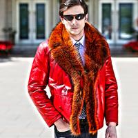 Akrasanee men's clothing sheepskin genuine leather male clothing outerwear fur calf skin leather clothing fur collar