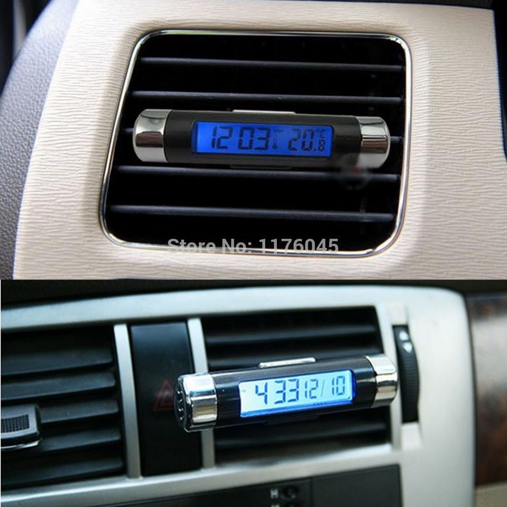 B39 New 2in1 Car Auto LCD Clip-on Digital Backlight Automotive Thermometer Clock free shipping(China (Mainland))