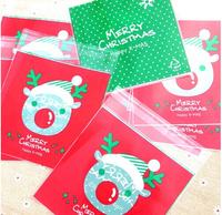 100 PCS 10x13cm 10x10+3cm Winter Reindeer Merry Christmas Self Adhesive Seal Cookie Food Bag Packaging Plastic OPP Bag
