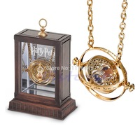 B39 1pc Gold Hourglass Harry Potter Time Turner Necklace Hermione Granger Rotating Spins free shipping