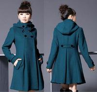 2014 new women's double-breasted wool coat Korean version of the long section woolen coat wool coat hooded windbreaker