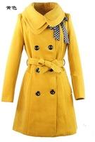 2014 new Ms. double collar woolen coat winter coat jacket coat belt decoration free shipping