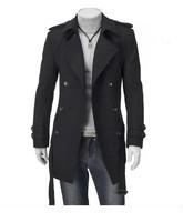 2014 Winter Men's Fashion Double-Breasted Belt Plus Size M L XL XXL XXXL Long Coat  MJ3