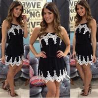 2015 summer fashion white floral lace trim black mini dress vestidinho sexy vested casual