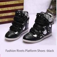New 2014 Fashion Women's Winter Platform Heel Boots Shoes Black Elevator Shoes Hidden High Heel Sneakers Shoes for Women
